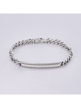 MABINA MAN GROUMETTE BRACELET IN BURNISHED SILVER WITH PLATE