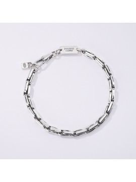 MABINA MAN CARDAN MESH BRACELET IN BURNISHED SILVER