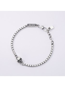 MABINA UOMO VENETIAN CHAIN BRACELET IN BURNISHED SILVER WITH SKULL
