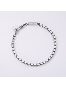 MABINA MAN BRACELET WITH VENETIAN CHAIN IN BURNISHED SILVER