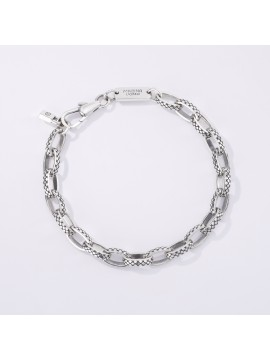 MABINA MAN BRACELET OVAL LINES WITH RHOMBUS IN BURNISHED SILVER