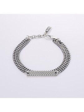 MABINA MAN BRACELET MULTICHAIN GROUMETTE IN BURNISHED SILVER WITH RHOMBUS PLATE