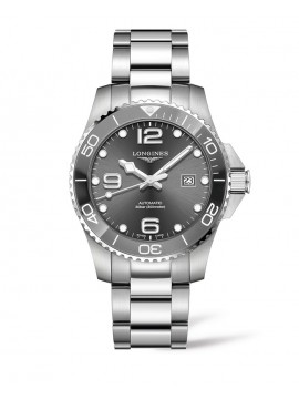 LONGINES HYDROCONQUEST STAINLESS STEEL WATCH WITH GRAY DIAL