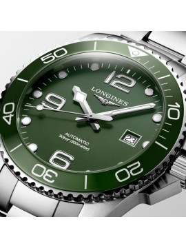LONGINES HYDROCONQUEST STAINLESS STEEL WATCH WITH GREEN DIAL