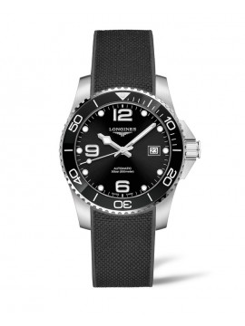 LONGINES HYDROCONQUEST STAINLESS STEEL WATCH WITH BLACK DIAL AND RUBBER STRAP