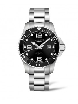 LONGINES HYDROCONQUEST STAINLESS STEEL WATCH WITH BLACK DIAL