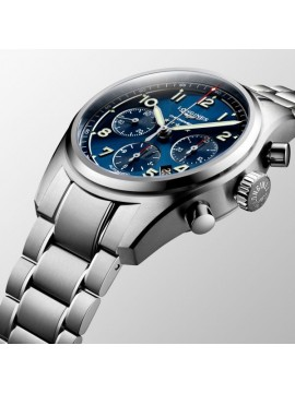 LONGINES SPIRIT STAINLESS STEEL AUTOMATIC CHRONOGRAPH WATCH WITH BLUE DIAL