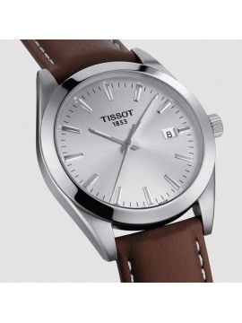 TISSOT GENTLEMEN STAINLESS STEEL WATCH AND BROWN LEATHER STRAP
