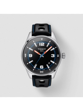 TISSOT ALPINE ON BOARD STAINLESS STEEL WATCH AND BLACK LEATHER STRAP