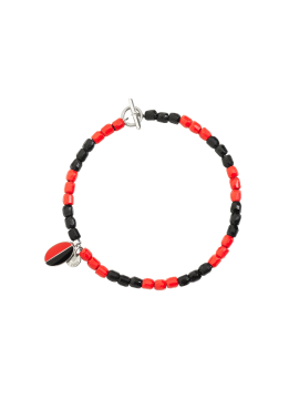 DODO AC MILAN BRACELET IN SILVER, RED AND BLACK PLASTIC AND STEEL