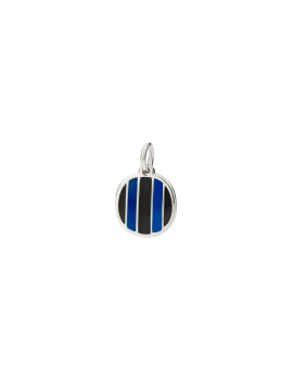 DODO INTER PENDANT IN 925 SILVER AND BLACK AND BLUE ENAMEL