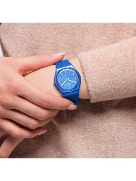 SWATCH BLURRY BLUE WATCH WITH BLUE SILICONE STRAP