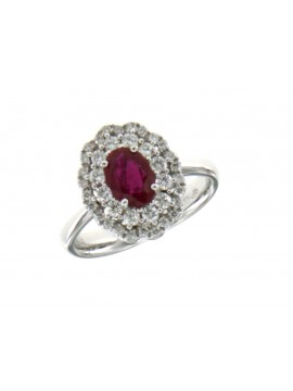 MIRCO VISCONTI FANTASY RING IN WHITE GOLD WITH DIAMONDS AND RUBIES