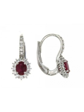MIRCO VISCONTI EARRINGS IN WHITE GOLD WITH DIAMONDS AND RUBIES Z 685M / B05R