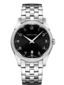 HAMILTON JAZZMASTER THINLINE STAINLESS STEEL BRACELET BLACK DIAL WATCH