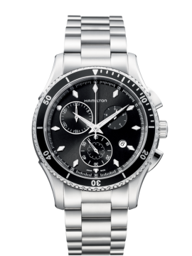 Hamilton Jazzmaster Seaview Chrono Quartz Men's Watch with Black Dial and Stainless Steel Bracelet