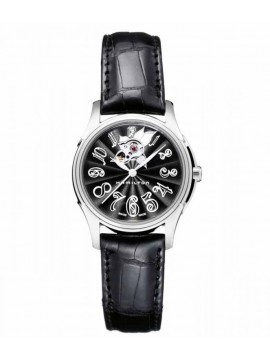 Hamilton Jazzmaster Lady Auto with Black Leather Strap