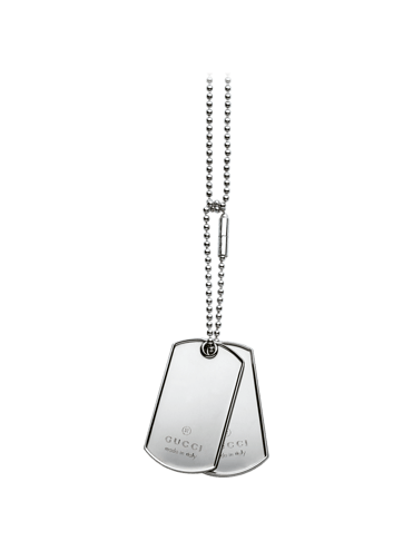 GUCCI SILVER NECKLACE IN STERLING SILVER WITH PLATES-DOGTAG ... 6b7218667b44