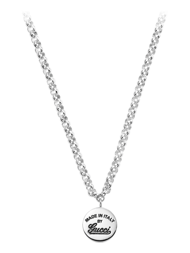 c565bf8a4 GUCCI SILVER NECKLACE WITH GUCCI TRADEMARK ENGRAVED PENDANT-CRAFT ...