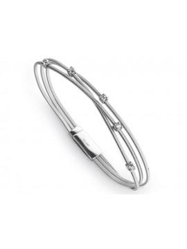 Marco Bicego bracciale Goa con tre fili in Oro Bianco e Cinque Diamanti