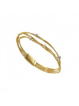 Marco Bicego Marrakech Yellow Gold Couture and Diamond Three Strand Bangle