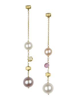 Marco Bicego Paradise gold, stones and pearls earrings