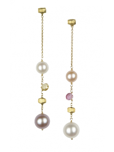 Marco Bicego Paradise Gold Stones And Pearls Earrings
