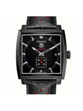 TAG Heuer orologio Monaco Calibro 6 automatico, 37 mm, cinturino pelle nero e rosso