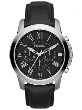 FOSSIL GRANT CHRONO STAINLESS STEEL WATCH WITH BLACK LEATHER STRAP
