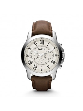 FOSSIL GRANT CHRONO STAINLESS STEEL WATCH WITH BROWN LEATHER STRAP