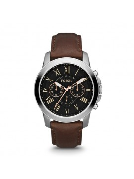 FOSSIL GRANT CHRONO STAINLESS STEEL WATCH AND BROWN LEATHER STRAP