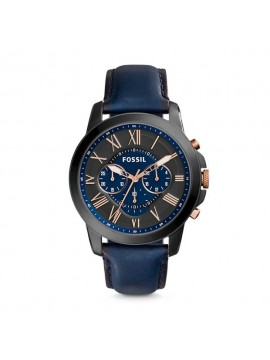 FOSSIL GRANT CHRONO STAINLESS STEEL WATCH SMOKE GRAY WITH BLUE LEATHER STRAP