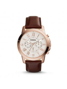 FOSSIL GRANT CHRONO STEEL WATCH ROSE GOLD TONE WITH BROWN LEATHER STRAP