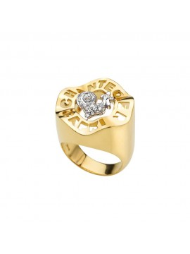 Chantecler anello Logo oro giallo e diamanti