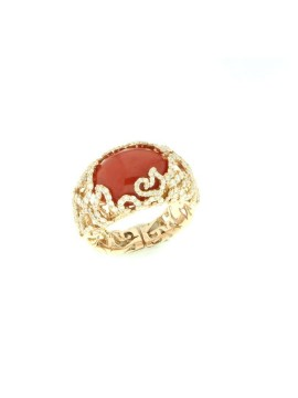 Chantecler anello Diamour Folies oro rosa diamanti e corallo