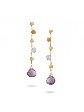 Marco Bicego Paradise Drop Earrings in Yellow Gold and Mixed Stone