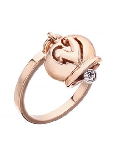 colori armoniosi promozione grande collezione Chantecler Anello Campanelle in Oro Rosa con Diamante nel Batacchio -  Lattuca gioielli