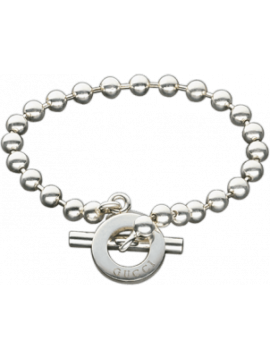 GUCCI SILVER BRACELET WITH BOULE CHAIN AND CLOSURE TOGGLE-BOULE BRITT