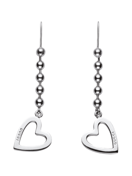 GUCCI SILVER RINGS WITH BOULE CHAIN AND PENDANT HEART-TOGGLE HEART