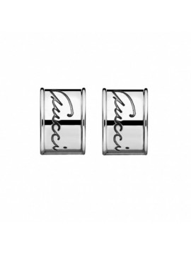 GUCCI SILVER HOOP EARRINGS WITH BLACK PVD FINISH-FLORA