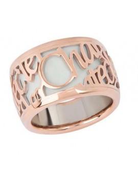 Chantecler anello Pour Parler oro rosa smalto bianco