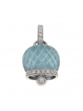 Chantecler Bell Charm set in White Gold with Diamonds and Blue Topaz