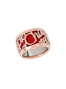 Chantecler Pour Parler high band Ring set in Rose Gold with Red Enamel