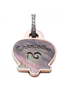 Chantecler Anima Campanella Charm in Rose Gold with Grey Mother of Pearl Rooster and Diamonds