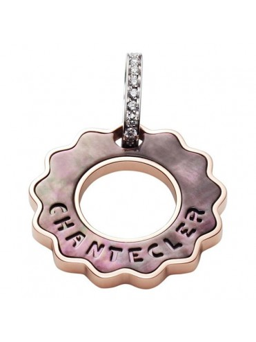 CHANTECLER LOGO CHARM IN ROSE GOLD AND MOTHER OF PEARL WITH DIAMONDS-ANIMA