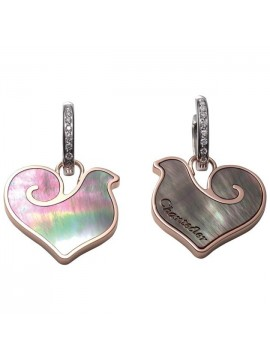 Chantecler Anima Earrings with Roosters in Rose Gold and Grey Mother of Pearl with Diamonds