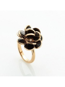 CHANTECLER PAILLETTES MINI ROSE GOLD AND BLACK  ENAMEL RING-PAILLETTES & MINI PAILLETTES