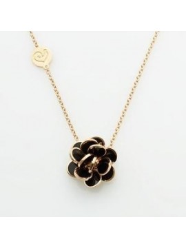 Chantecler Mini Paillettes Necklace with Charm set in Rose Gold and Black Enamel