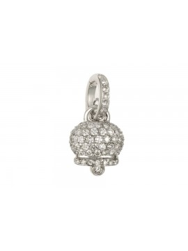 Chantecler Campanelle Charm in White Gold and Diamonds Pavè