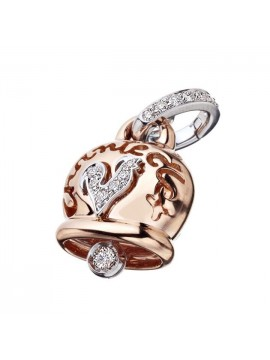 Chantecler Camoanelle Charm set in Rose Gold with Rooster in White Gold and Diamonds Pavè